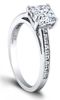 The Hayley diamond engagement ring by Jeff Cooper. A lovely, classic setting with channel-set diamonds. Via Diamonds in the Library.