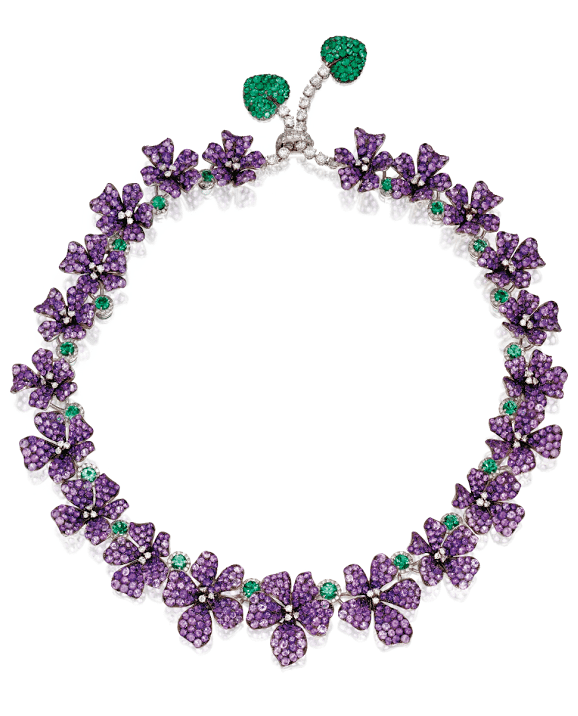 A wonderful amethyst, diamond, and emerald violet necklace by Michele della Valle. Via Diamonds in the Library.