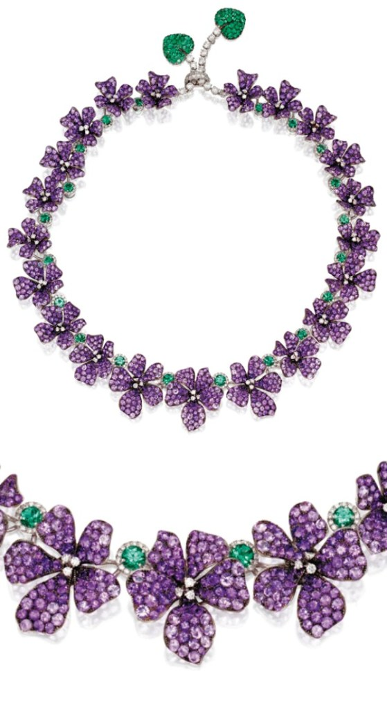 A wonderful amethyst, diamond, and emerald violet necklace by Michele della Valle.