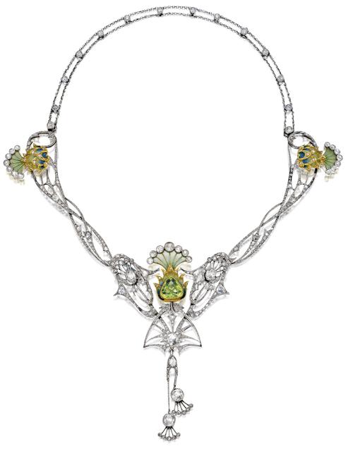 An antique Art Nouveau plique-à-jour enamel, peridot, and diamond necklace, circa 1900.