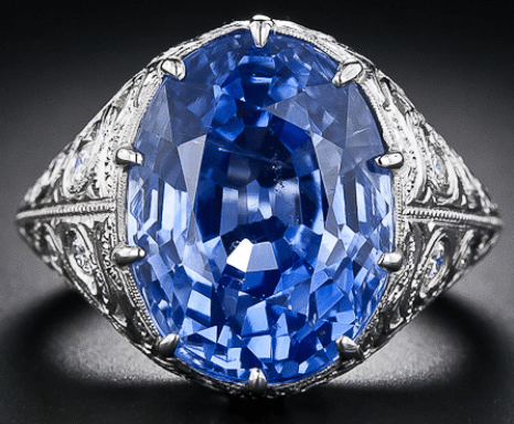 Antique style cornflower blue, natural, no-heat Ceylon sapphire ring