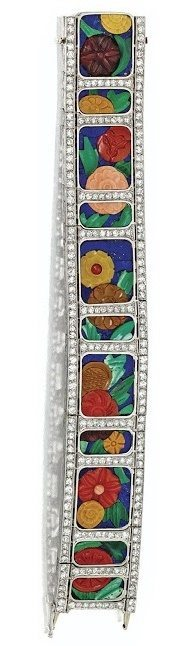Art Deco carved hardstone and diamond bracelet with diamonds, coral, carnelian, chalcedony, malachite and lapis lazuli. Circa 1925. Via Diamonds in the Library.