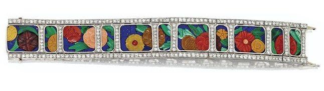 Art Deco carved hardstone and diamond bracelet with diamonds, coral, carnelian, chalcedony, malachite and lapis lazuli. Circa 1925. Via Diamonds in the Library.