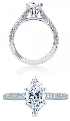Diamond engagement ring by Tacori, with a marquis-cut diamond.