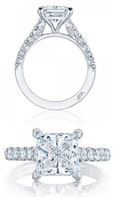 Diamond engagement ring by Tacori, with a princess cut diamond.