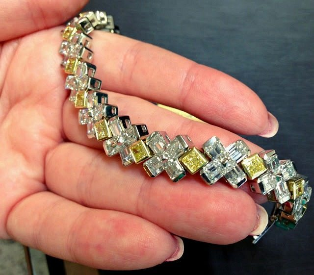 Yellow and white diamond bracelet by Martin Flyer. Via Diamonds in the Library.