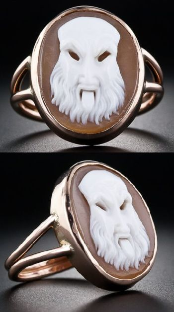 A very unusual Victorian shell cameo ring in 9 karat rose gold. Via Diamonds in the Library.