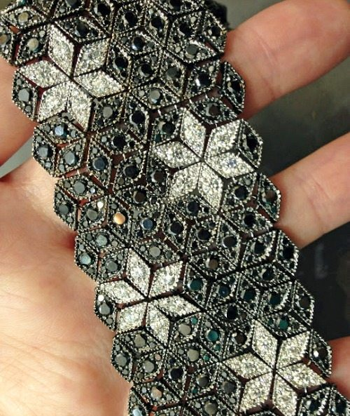 Black diamond and white diamond bracelet by Sasha Primak. Via Diamonds in the Library.