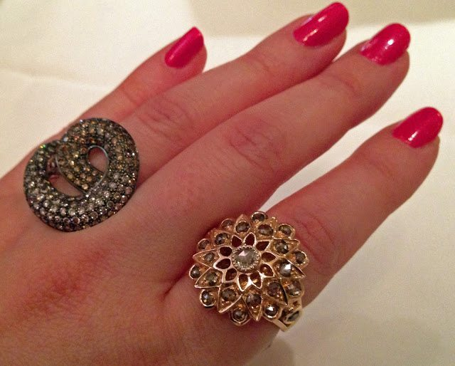 Two incredible statement rings by Sethi Couture. Via Diamonds in the Library.