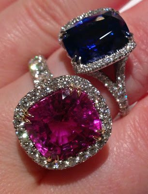Cocktail rings by Omi Privé: a blue sapphire, platinum, and diamond ring and a pink sapphire, rose gold, platinum, and diamond ring. Via Diamonds in the Library.