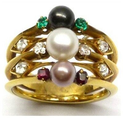 Victorian colored pearl, ruby, emerald, and diamond ring in gold. Via Diamonds in the Library.