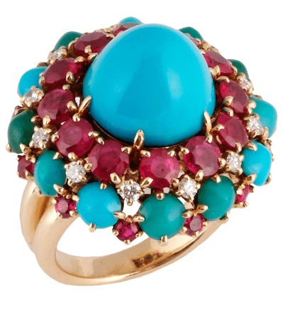Turquoise and gemstone cocktail ring by Van Cleef & Arpels, made in France in the 1950s.  Via Diamonds in the Library.