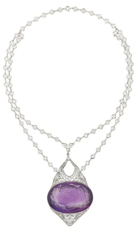 Antique Belle Epoque platinum, diamond and amethyst cameo necklace. Via Diamonds in the Library.