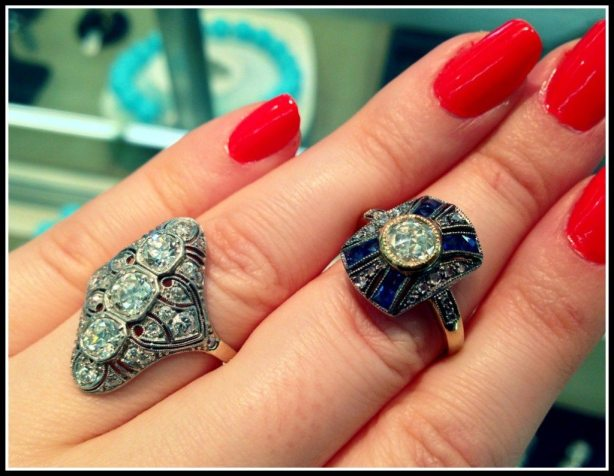 Two antique-style rings in diamonds and sapphires at Scott Antique Market. Via Diamonds in the Library