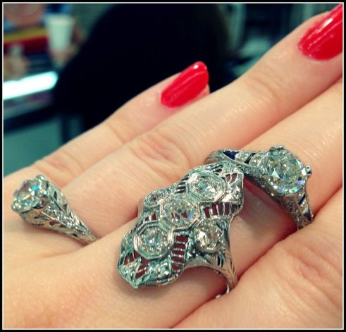 Three antique Art Deco diamond engagement rings at Scott Antique Market. Via Diamonds in the Library
