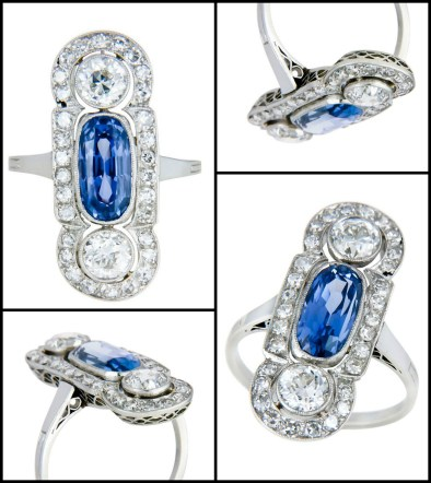 Antique Edwardian diamond ring with a 1 carat Ceylon sapphire and approx. 2 carats of old European cut diamonds. Via Diamonds in the Library.