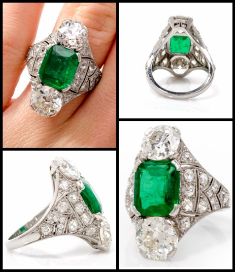 Antique Art Deco ring featuring a 4 carat Colombian emerald flanked by two diamonds (one 2.07 cts, the other is approx. 1.85 cts) and accentuated by a further 3 carats sparkling old mine cut diamonds. The setting is platinum and pierced with openwork details. Via Diamonds in the Library.