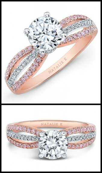 Natalie K rose gold engagement ring with rows of round white and pink diamonds surrounding a center round mounting made for a 1.50ct center stone. Via Diamonds in the Library.