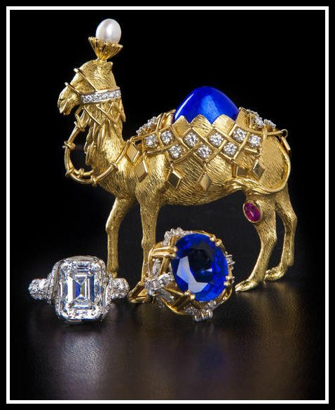 Alternate view: Gold, enamel, diamond and pink sapphire camel brooch by Jean Schlumberger for Tiffany & Co. Via Diamonds in the Library.
