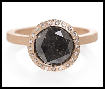 Todd Reed black diamond and rose gold engagement ring. Via Diamonds in the Library.