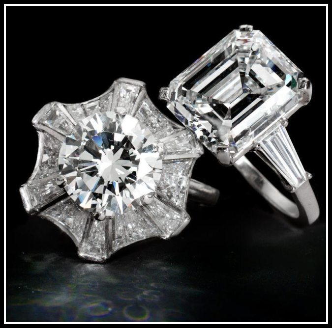 Two exceptional diamond engagement rings. Via Diamonds in the Library.