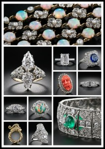 Collage of Lang Antiques' items featured on Diamonds in the Library (Part 1).