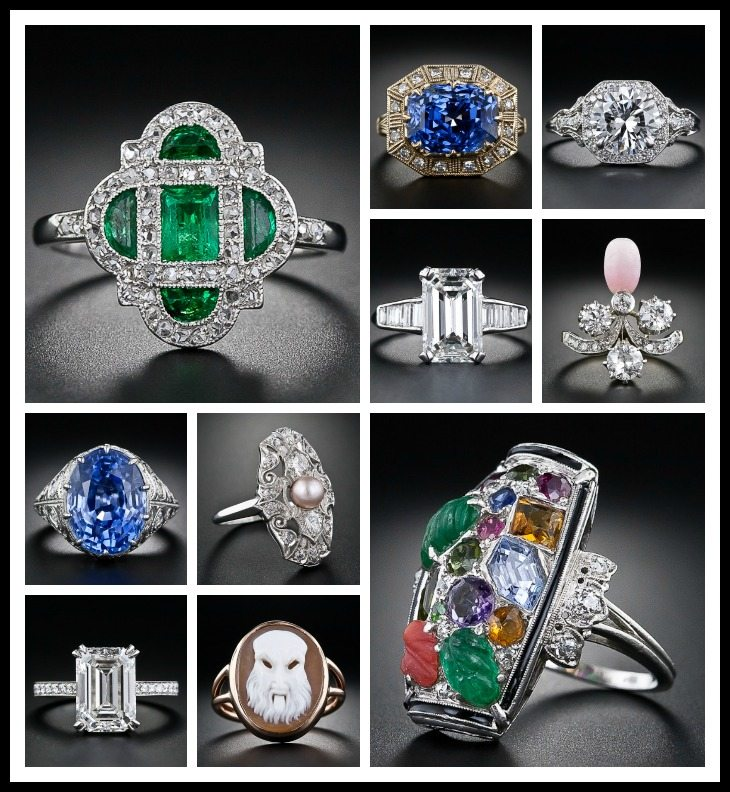 Collage of Lang Antiques' jewelry featured on Diamonds in the Library (Part 2).