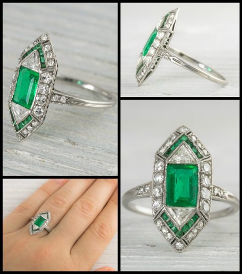 This antique Art Deco ring centers a 1 carat bezel-set emerald accented with single cut diamonds and calibre cut emeralds decorated with delicate millegrain details. Via Diamonds in the Library.