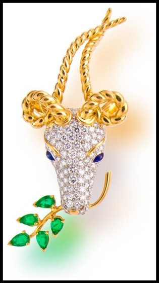 Gold, diamond and emerald gazelle brooch by Jean Schlumberger for Tiffany & Co. Via Diamonds in the Library.