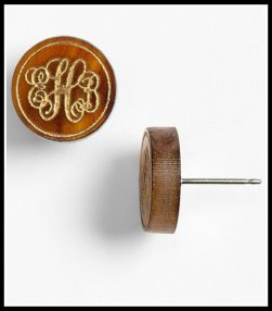 'Chelsea' Small Personalized Monogram Stud Earrings. Via Diamonds in the Library's jewelry gift guide.