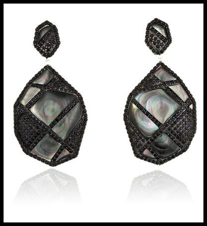 "Kara Ross New York Deco Cage ""Gemstone"" Drop Earrings in Sterling Silver with Black Mother of Pearl and Black Sapphires. Via Diamonds in the Library's jewelry gift guide."