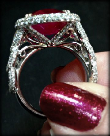 A JB Star ring with ruby and diamonds. Via Diamonds in the Library.