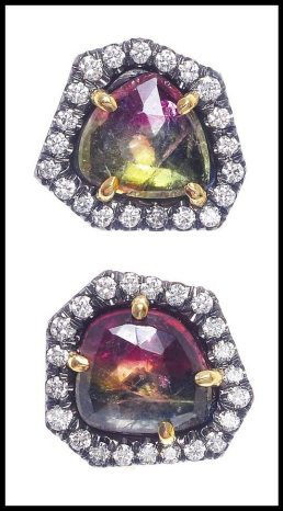 Jemma Wynne Watermelon Tourmaline and Diamond Studs. Via Diamonds in the Library's jewelry gift guide.