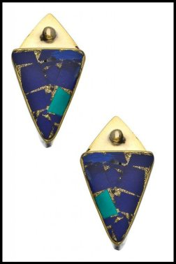 Karen London Brass Lapis and Turquoise Desert Moon Earrings. Via Diamonds in the Library's jewelry gift guide.
