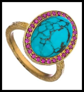 KiraKira Gold Turquoise and Pink Sapphire Kori Ring. Via Diamonds in the Library's jewelry gift guide.