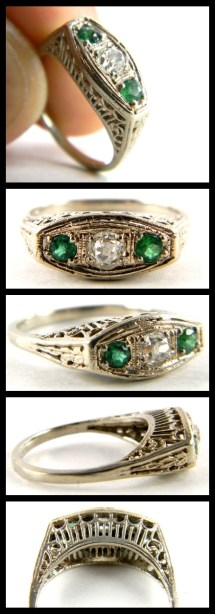 Antique Art Deco diamond and emerald ring in white gold filigree. Via Diamonds in the Library's jewelry gift guide.