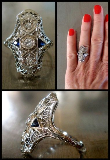 Edwardian diamond and sapphire ring. Via Diamonds in the Library's jewelry gift guide.