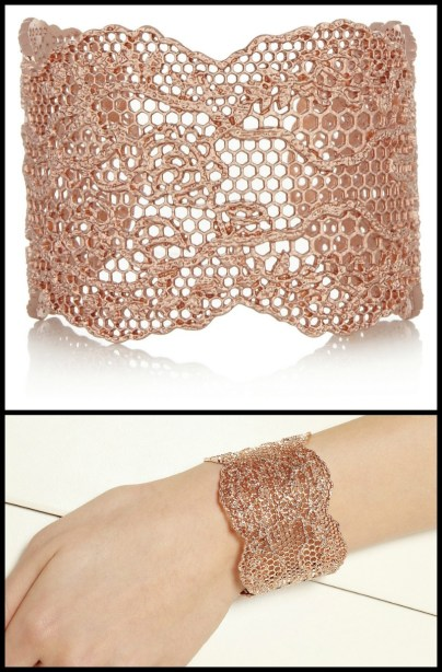 Aurélie Bidermann Rose gold-dipped lace cuff. Via Diamonds in the Library's jewelry gift guide.