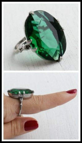 Art Deco sterling silver and emerald green glass cocktail ring. Via Diamonds in the Library's jewelry gift guide.