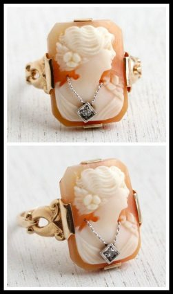 Antique 10k gold and diamond cameo ring. Via Diamonds in the Library's jewelry gift guide.