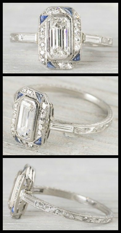 Wedding Ring With Names 35 Spectacular Art Deco sapphire and
