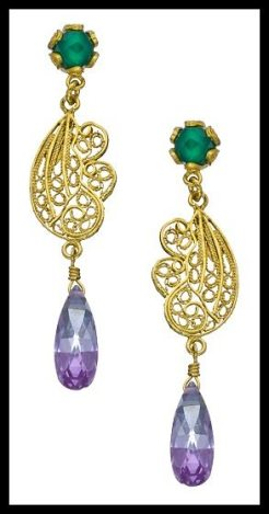 Yvone Christa Green Onyx Filigree Drop Earrings. Via Diamonds in the Library's jewelry gift guide.