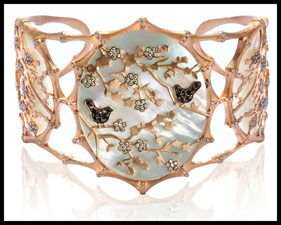 Annoushka Dream Catcher cuff with 18k rose gold, diamonds, mother of pearl and touches of black rhoduim. Via Diamonds in the Library.