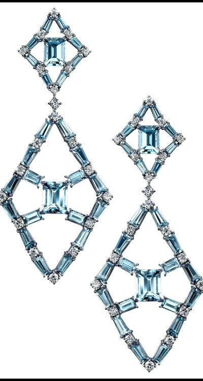 "Robert Procop ""Blue Queen of Diamonds"" earrings with 19.83 carats of blue topaz and 2.69 carats of diamonds set in 18k white gold. Via Diamonds in the Library."