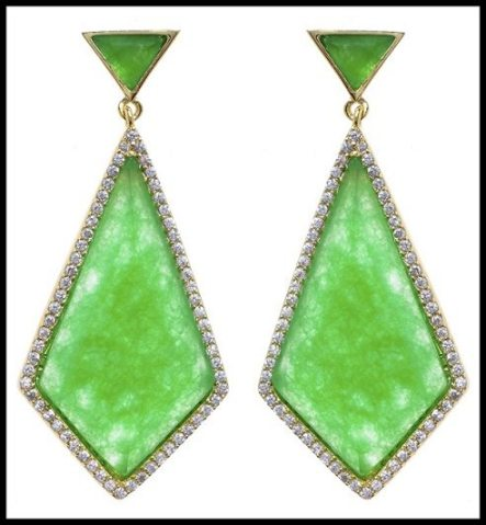 Marcia Moran Geometric Green Onyx Earrings. Via Diamonds in the Library's jewelry gift guide.