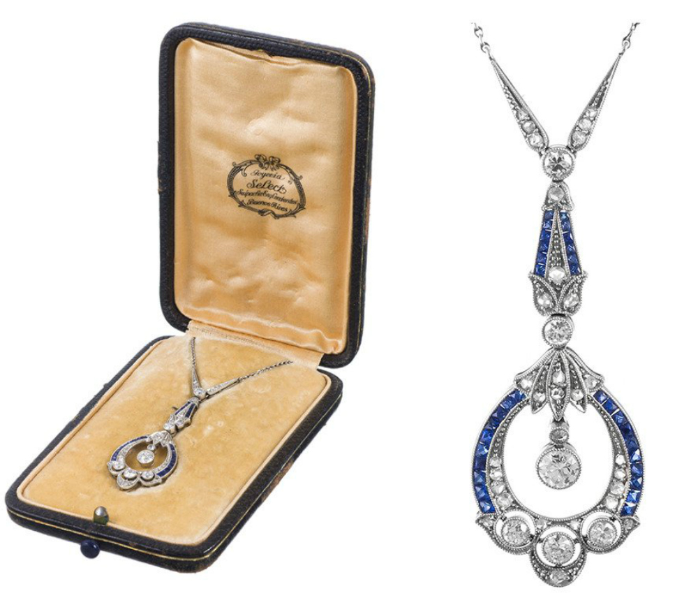 Art Deco diamond and sapphire pendant in its original presentation box, circa 1920. Via Diamonds in the Library.