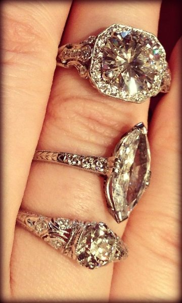 Two Art Deco engagement rings with one antique-style modern engagement ring. Via Diamonds in the Library.