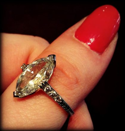 1.41 carat Art Deco marquise diamond engagement ring. Via Diamonds in the Library.
