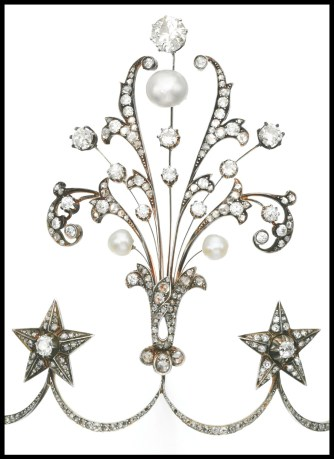 Aigrette detail: Late 19th century pearl and diamond aigrette tiara with circular and rose cut diamonds. Via Diamonds in the Library.