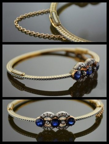 Antique gold bangle by Carlo Giuliano. Set with old mine cut diamonds and sapphires and embellished with enamel. Via Diamonds in the Library.